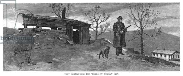 COAL MINERS' STRIKE, 1884 'Fort Commanding the Works at Murray City,' during the coal miners' strike in Hocking Valley, Ohio. Engraving, American, 1884.
