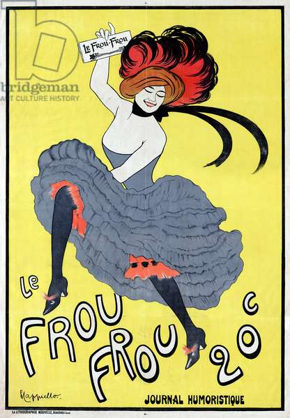 A can-can dancer holding a copy of 'Le Frou Frou', 1899 (lithograph)