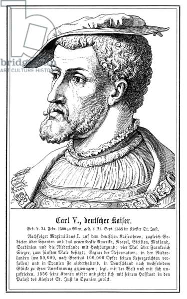 CHARLES V (1500-1558) Holy Roman Emperor (1519-1556) and King of Spain as Charles I (1516-1556). Line engraving, German, 19th century.