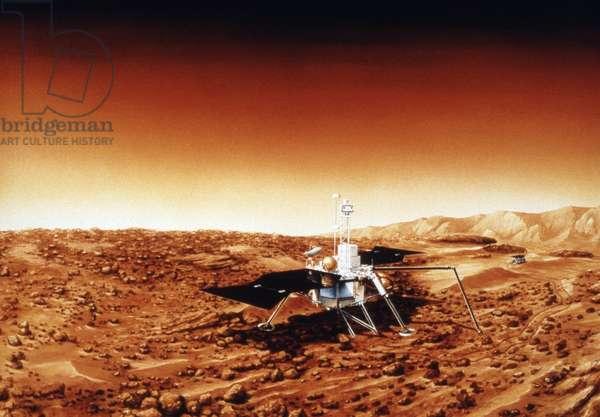 MARS SURVEYOR LANDER The Mars Surveyor '98 Lander (later renamed the Mars Polar Lander) on the surface of Mars. Illustration for NASA, c.1998.