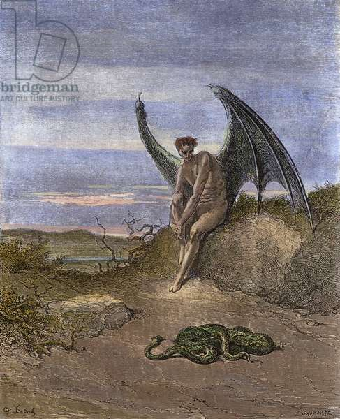 MILTON: PARADISE LOST Satan and the snake. Engraving after Gustave Doré to a 19th century edition of John Milton's 'Paradise Lost' (Book IX, lines 182-183).