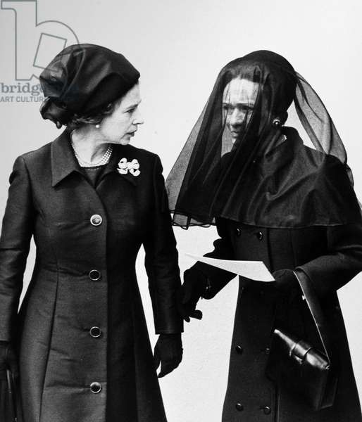 FUNERAL OF EDWARD VIII, 1972 Queen Elizabeth II and the Duchess of Windsor arrive at the funeral of Edward VIII, the Duke of Windsor, 3 June, 1972.