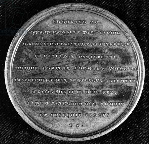 LOUIS XV (1710-1774) King of France, 1715-1774. Medal commemorating the king's first reception at Notre Dame Cathedral in Paris, 28 May 1719.