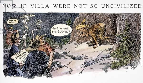 CARTOON: VILLA RAID, 1916. Cartoon satirizing U.S. raid against Pancho Villa. Cartoon by Luther D. Bradley, 1916.