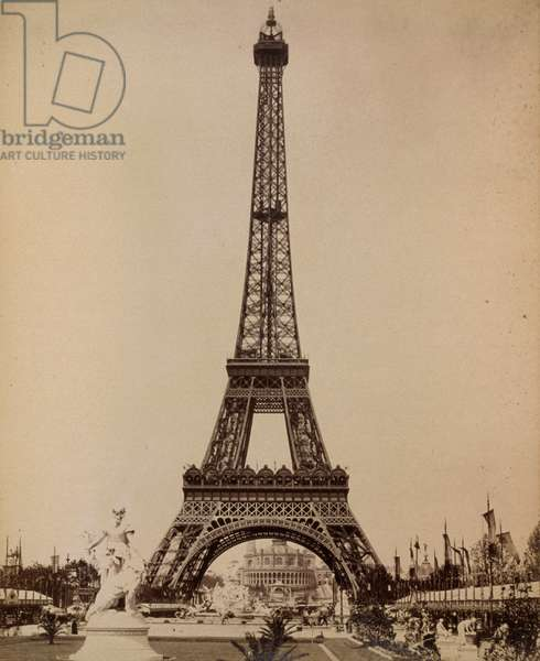 PARIS: EIFFEL TOWER, 1889 A view of the Eiffel Tower during the Universal Exposition of 1889 in Paris, France. Photograph, 1889.