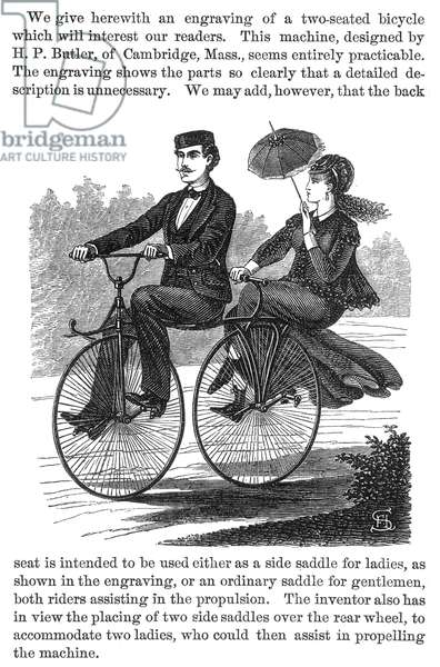 BICYCLE BUILT FOR TWO Wood engraving, 1869, American.