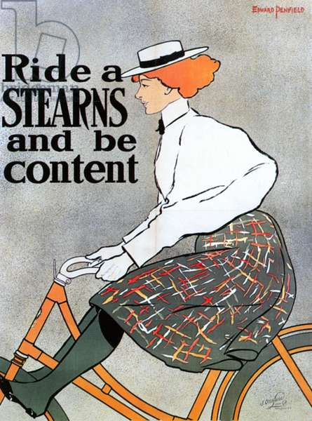 BICYCLE POSTER, 1896 'Ride a Stearns and be Content.' American lithograph advertising poster by Edward Penfield for Stearns bicycles, 1896.