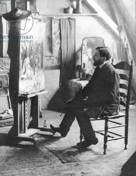 Piet Mondrian (1872-1944) Dutch painter. Photographed in his studio c.1905 (b/w photo)