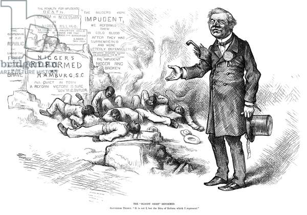 "NAST: ELECTION, 1876 'The ""Bloody Shirt"" Reformed. Governor Tilden: ""It is not I, but the Idea of Reform which I represent.""' Cartoon by Thomas Nast, 1876, associated Democratic presidential candidate Samuel J. Tilden with the violence against African Americans in the South following the Civil War."