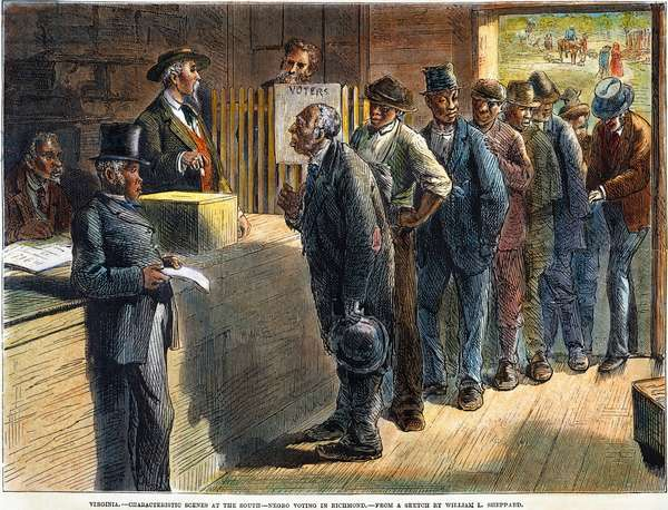 FREEDMEN VOTING, 1871 Freedmen voting at Richmond, Virginia, in 1871. Wood engraving from a contemporary American newspaper.