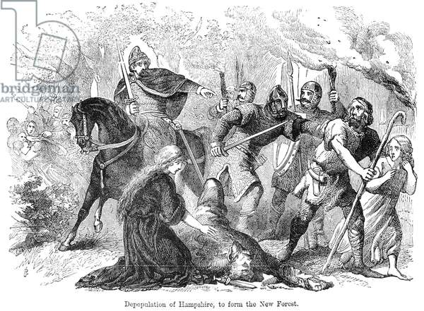 NORMAN CONQUEST, 1081 The depopulation of Hampshire by William the Conqueror in 1081 to form the New Forest. Wood engraving, 19th century.