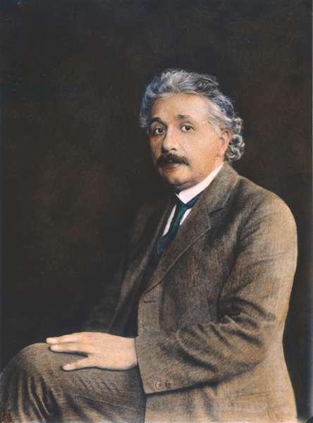 ALBERT EINSTEIN (1879-1955) American (German-born) theoretical physicist. Oil over a photograph, c.1930.