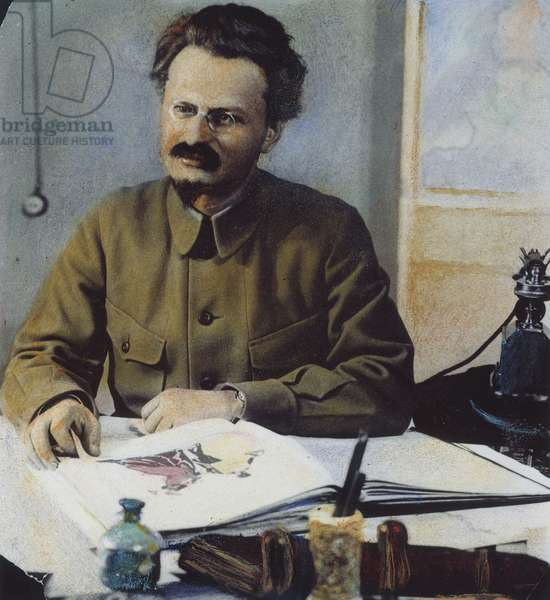 LEON TROTSKY (1879-1940) Né Lev Davidovich Bronstein. Russian Communist leader. Oil over a photograph, n.d.