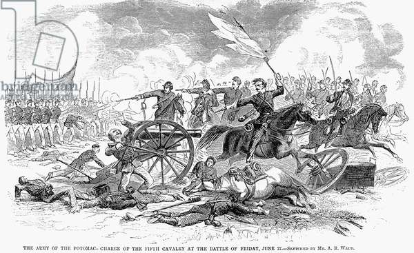SEVEN DAYS' BATTLES, 1862 Charge of the Fifth Cavalry, Army of the Potomac, during the Seven Days' Battles, 27 June 1862. Wood engraving, 1862, by A.R. Waud.