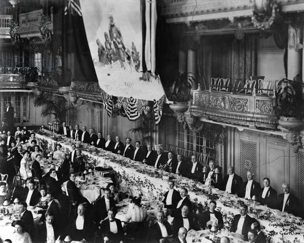 PEARY BANQUET, 1910 A banquet in honor of Arctic explorer Robert E. Peary at the Hotel Astor in New York City. Photograph, 5 March 1910.