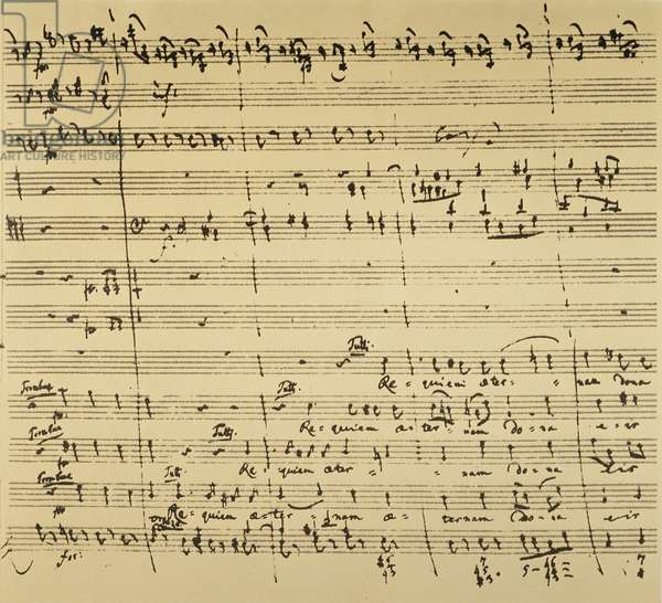 MOZART: REQUIEM EXCERPT Autograph manuscript excerpt of Wolfgang Amadeus Mozart's unfinished 'Requiem,' 1791, featuring the chorus 'Requiem aeternam dona eis, Domine' (Give them eternal peace, oh Lord).
