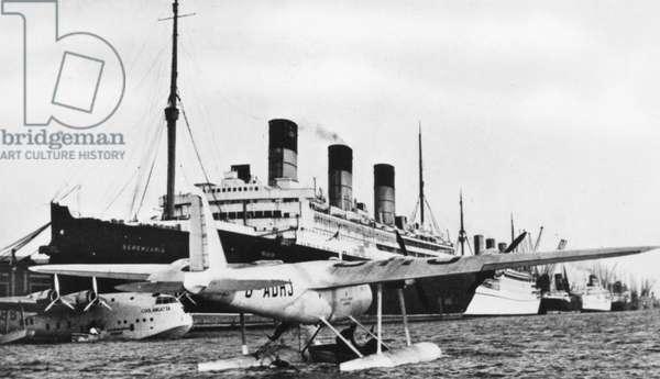 FLYING BOAT, c.1938 Imperial Airways flying boat at Southampton Docks, c.1938.