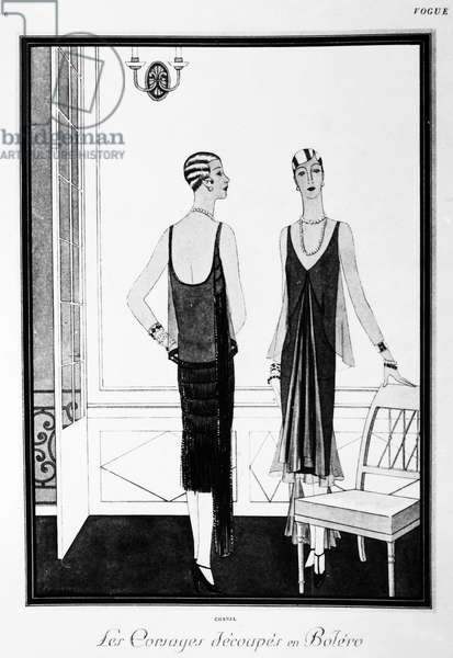 CHANEL ILLUSTRATION, 1926 Illustration from Vogue magazine of two robes designed by Coco Chanel, April 1926.