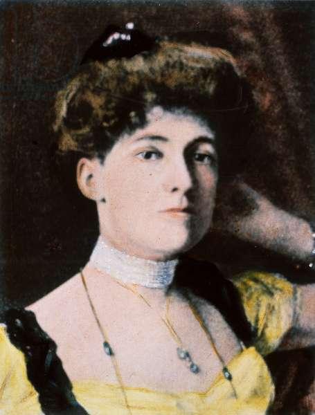EDITH WHARTON (1862-1937) American author. Oil over a photograph, c.1900.