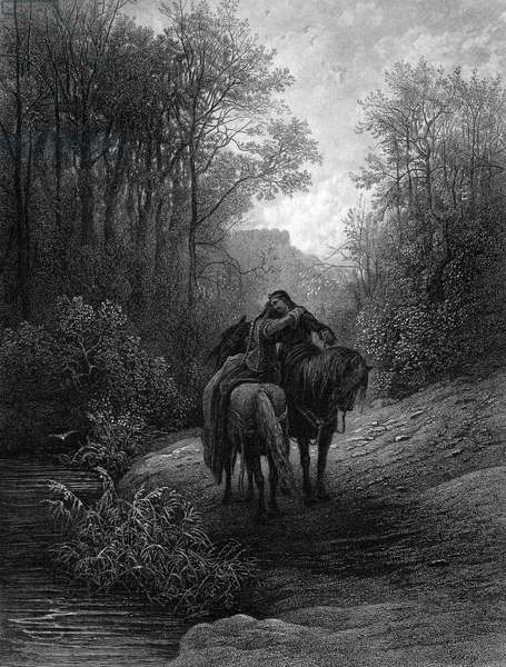 TENNYSON: GUINEVERE 'The Idylls of the King.' The Parting of Lancelot and Guinevere. Steel engraving, 1867, after Gustave Doré.