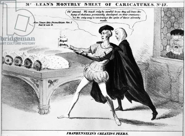 BRITISH PEERS, 1832 'Frankenstein's Creating Peers.' Satirical English cartoon on the creation of new peers by means of a potion labeled 'royal assent.' Lithograph, 1832, by Robert Seymour.