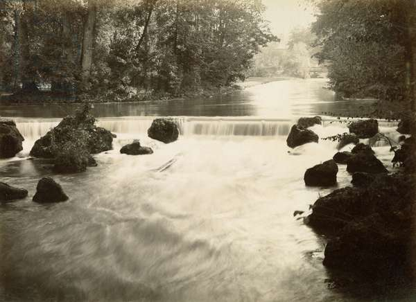 MUNICH: ENGLISH GARDEN The waterfall in the Englischer Garten in Munich, Germany. Photograph, c.1900.