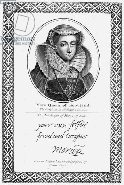 MARY, QUEEN OF SCOTS (1542-1587). Mary Stuart, Queen of Scotland, 1542-1567. Etching with autograph signature, English, 1819.