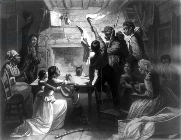 EMANCIPATION PROCLAMATION, 1863. 'Reading the Emancipation Proclamation.' Engraving, 1864.