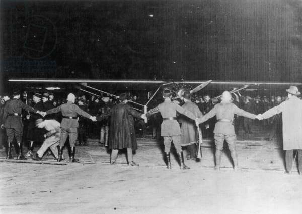 LINDBERGH IN PARIS, 1927 Charles A. Lindbergh and The Spirit of St. Louis arriving at Le Bourget air field, Paris, 21 May 1927.