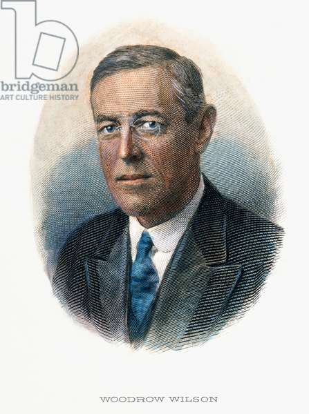 WOODROW WILSON (1856-1924) Contemporary color engraving.