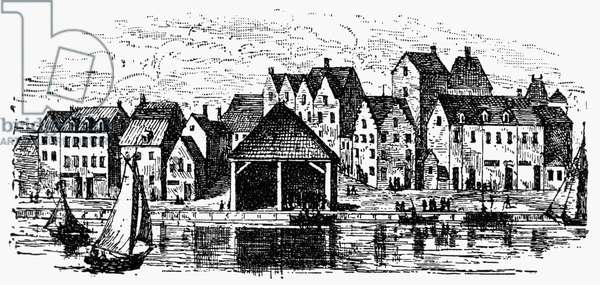 NEW YORK: SLAVE MARKET Slave market along the waterfront at Wall Street in New York City, in operation between 1711 and 1762. Engraving, 19th century.