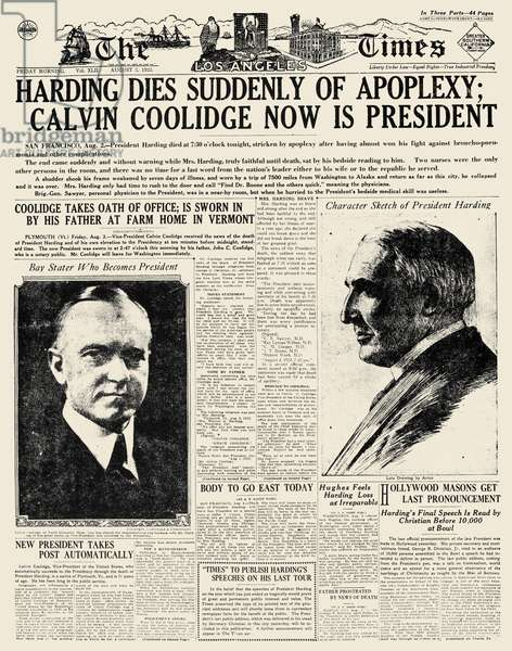 DEATH OF HARDING, 1923 Front page of the Los Angeles Times, 3 August 1923, announcing the death of Warren G. Harding, 29th President of the United States.