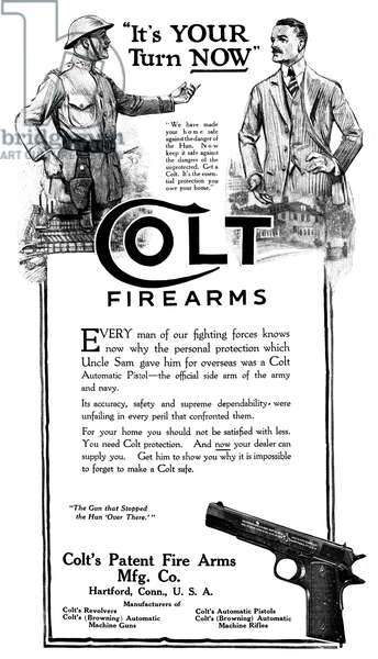 AD: COLT FIREARMS, 1919 American advertisement for Colt Firearms, 1919.