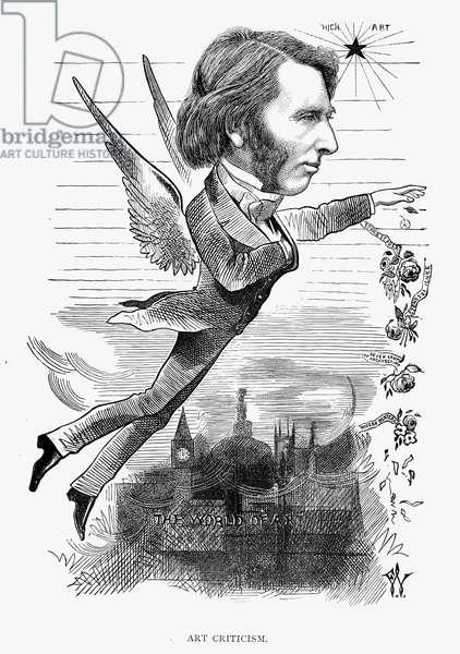 JOHN RUSKIN (1819-1900) English critic. Caricature, 1872, by Frederick Waddy.