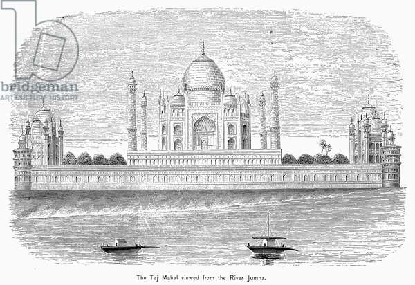 INDIA: TAJ MAHAL View of the Taj Mahal in Agra, India, from the Yamuna River. Wood engraving, 19th century.