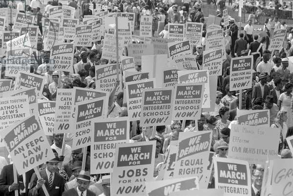 MARCH ON WASHINGTON, 1963 Demonstrators carrying signs during the March on Washington. Photograph by Marion S. Trikosko, 28 August 1963.