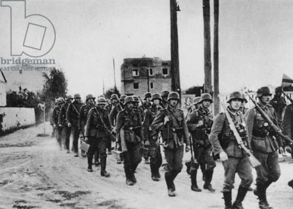 WWII: POLISH OCCUPATION German troops marching into Warsaw, September 25 1939, following its surrender.