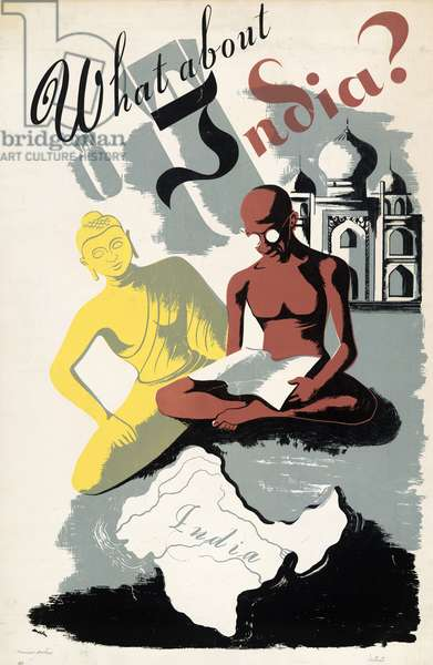 POSTER: INDIA, c.1943 'What about India?' Silkscreen poster, c.1943.