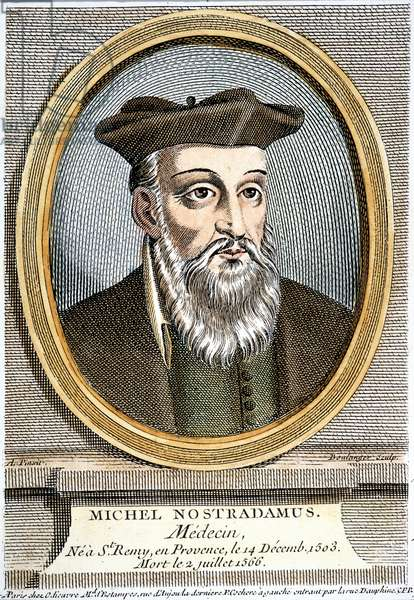 NOSTRADAMUS (1503-1566) French physician and astrologer. French line engraving, 19th century.