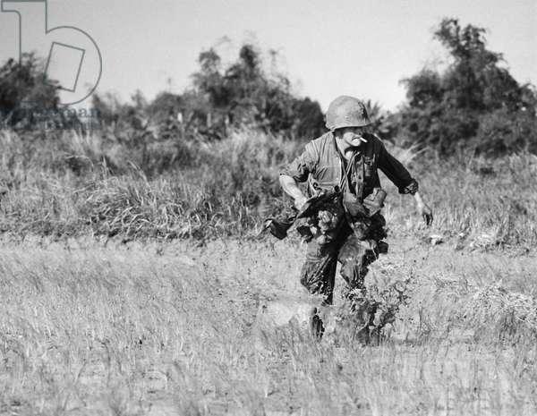 VIETNAM WAR: RIFLEMAN. U.S. Marine rifleman pinned down in a rice paddy near Hoi An, South Vietnam, December 1967.