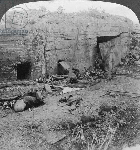 WORLD WAR I: GERMAN DEAD German casualties in a concrete trench after the battle of Menin Road Ridge, part of the Battle of Ypres, September 1917. Stereograph.