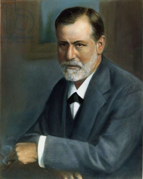 SIGMUND FREUD (1856-1939) Austrian neurologist and founder of psychoanalysis. Oil over a photograph, 1909.