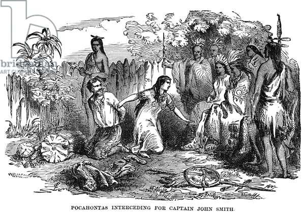 POCAHONTAS (1595?-1617) Native American princess. Pocahontas saving the life of Captain John Smith, late December 1607. Wood engraving, American, c.1870.