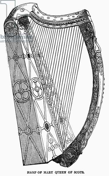 HARP OF QUEEN MARY STUART The Harp of Mary, Queen of Scots. Wood engraving, English, 1850.