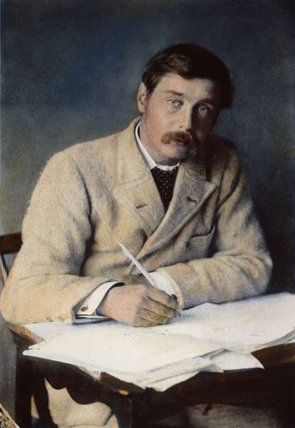 HERBERT GEORGE WELLS (1866-1946). English author: oil over a photograph, c.1896.