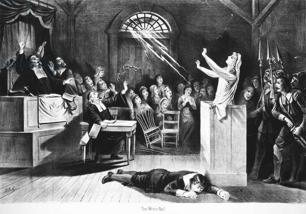SALEM WITCH TRIAL, 1692 A witch trial at Salem, Massachusetts, in 1692. Lithograph, American, 1892.