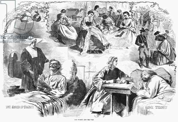 CIVIL WAR: WOMEN, 1862 'Our Women and the War.' Scenes of women helping the Union Army during the American Civil War. Wood engraving, American, 1862.