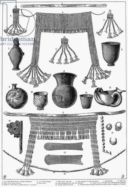 HEINRICH SCHLIEMANN (1822-1890). German traveler and archeologist. Some of the antiquities excavated by Schliemann at Hissarlick, Turkey, site of ancient Troy. Wood engraving, English, 1877.