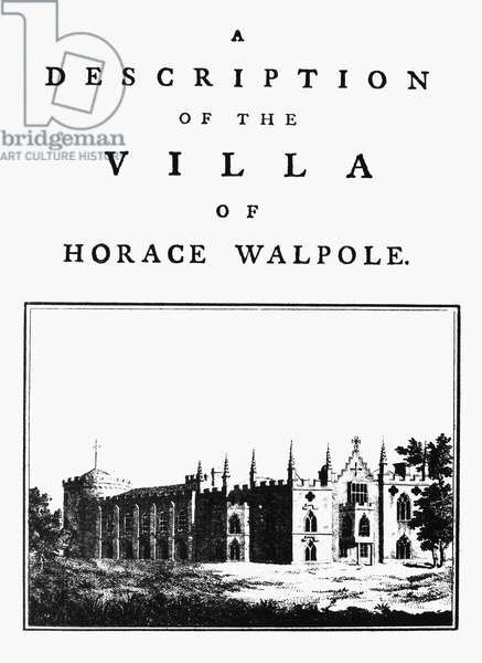 WALPOLE: TITLE PAGE, 1784 Title page to Horace Walpole's 'A Description of the Villa of Horace Walpole,' his book about his gothic villa, Strawberry Hill, originally published 1784.