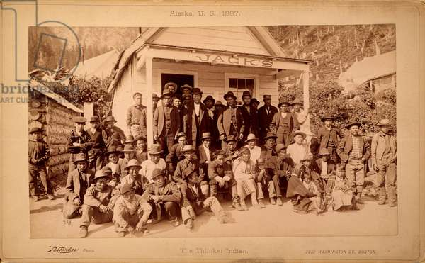 ALASKA: NATIVE AMERICANS A group of Thlinket Native Americans photographed in Alaska in 1887.